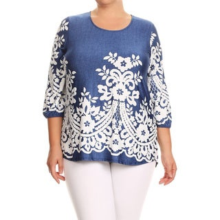 Women's Blue Denim and Lace Plus-size Pattern Tunic
