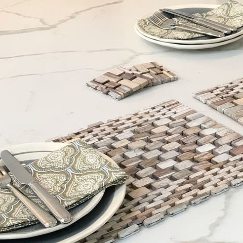 Handmade White Wash Rosewood Placemat Set of 2 (Indonesia)