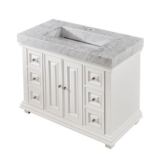 Silkroad Exclusive 48-inch Contemporary Bathroom Vanity Single Sink Cabinet w/ Soft Close