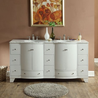 Silkroad Exclusive 72-inch Transitional Bathroom Vanity Double Sink Cabinet