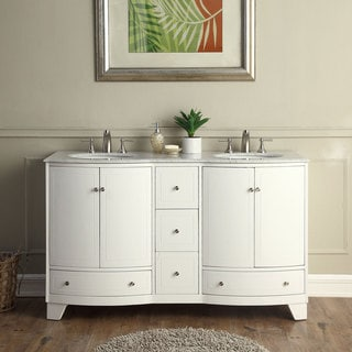 Silkroad Exclusive 60 Inch Transitional Bathroom Vanity Double Sink Cabinet