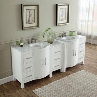 Silkroad Exclusive 89 Inch Contemporary Bathroom Vanity Double Sink Cabinet