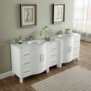Superbe Silkroad Exclusive 89 Inch Contemporary Bathroom Vanity Double Sink Cabinet