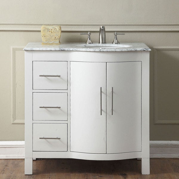 Silkroad exclusive 36 inch contemporary bathroom vanity single sink cabinet free shipping for Bathroom vanities single sink 36 inches
