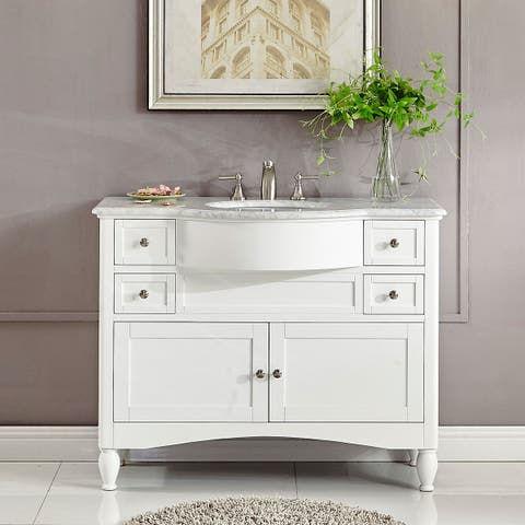 Silkroad Exclusive 45-inch Contemporary Bathroom Vanity Single Sink Cabinet