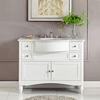Silkroad Exclusive 45 inch Contemporary Bathroom Vanity Single Sink Cabinet. Distressed Bathroom Vanities   Vanity Cabinets For Less