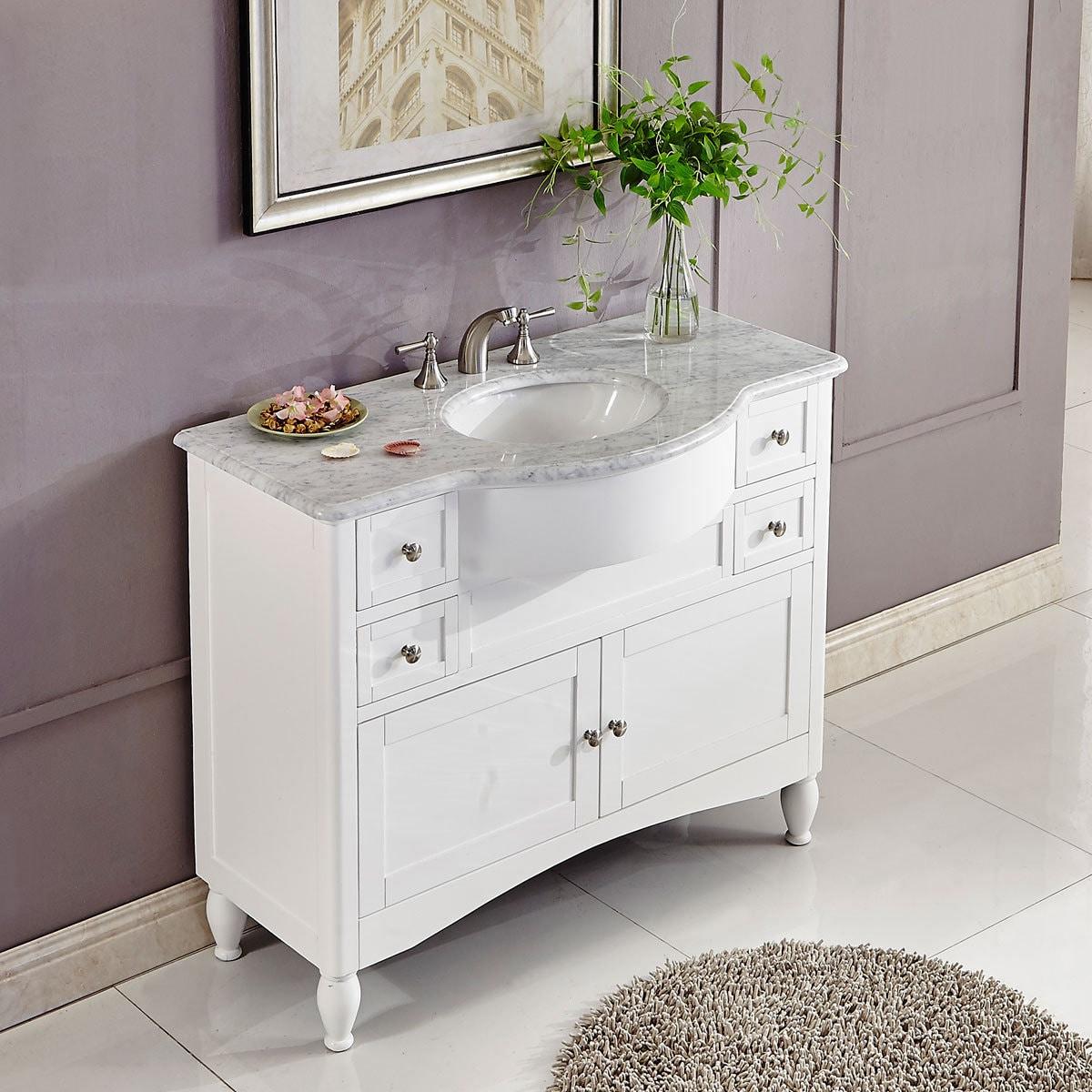 Silkroad Exclusive 45 Inch Contemporary Bathroom Vanity Single Sink Cabinet Overstock 14443147