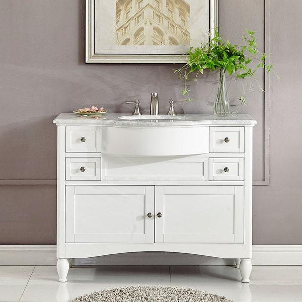 Silkroad Exclusive 45 Inch Contemporary Bathroom Vanity Single Sink Cabinet