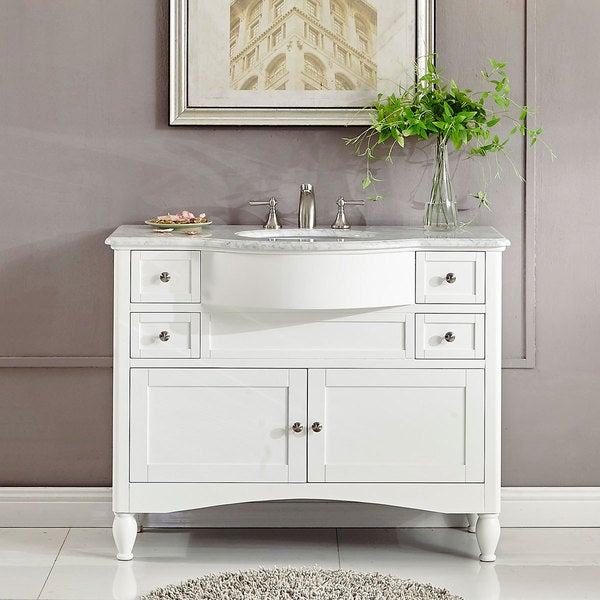 shop silkroad exclusive 45 inch contemporary bathroom vanity single sink cabinet free shipping. Black Bedroom Furniture Sets. Home Design Ideas