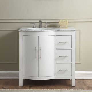 "Silkroad Exclusive 36"" Contemporary Bathroom Vanity Single Sink Cabinet"