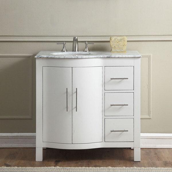 Silkroad Exclusive 36 Contemporary Bathroom Vanity Single Sink Cabinet