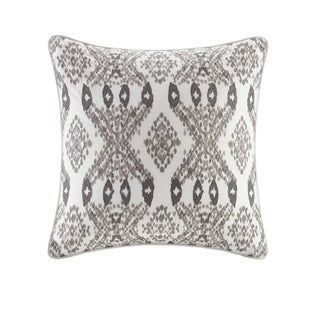 INK+IVY Clyde Purple Cotton Embroidered Square Throw Pillow