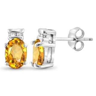Jewelonfire Sterling Silver 7/8ct TW Citrine and 1 1/5ct TDW White Diamond Earrings (H-I, I2-I3)