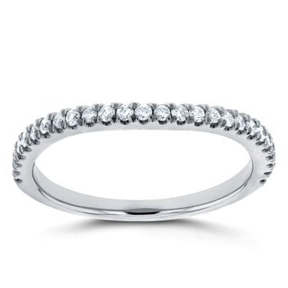Annello by Kobelli 14k White Gold 1/5ct TDW Diamond Curved Wedding Band (GH, I1-I2)