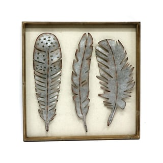'Metallic Feathers' Framed Wall Art