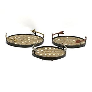 Jeco Arrowhead Round Iron, Wood Storage Tray (Set of 3)