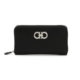 Salvatore Ferragamo Black Gancini Zip Around Wallet