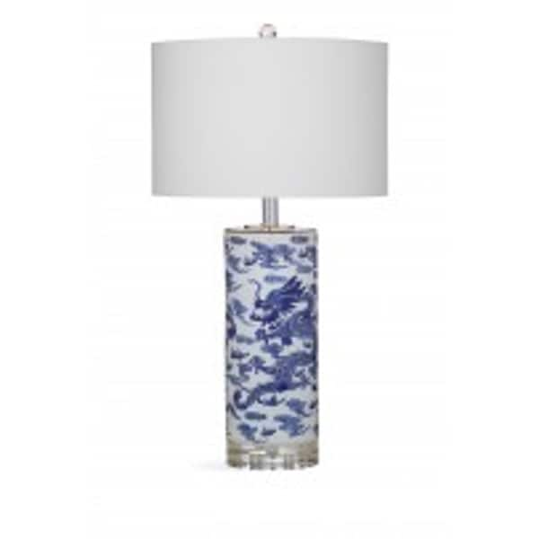 Bassett Mirror Company Madeline White/Blue Metal 29-inch Table Lamp