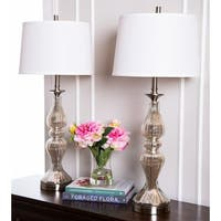 Abbyson Hudson Silver Glass Table Lamp (Set of 2)