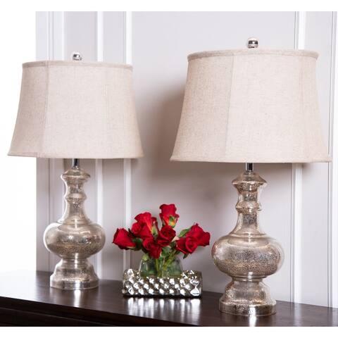 Abbyson Marston Mercury Glass 24-inch Table Lamp (Set of 2)