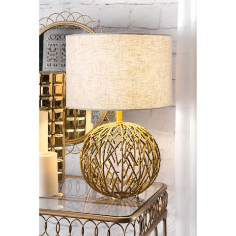 """nuLOOM Modern Gold Lattice Table Lamp with Linen Shade - 12""""W x 12""""D x 20""""H"""