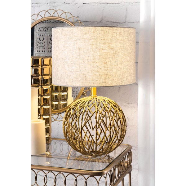 Watch Hill 20-inch Modern Gold Lattice Ball Linen Shade Table Lamp