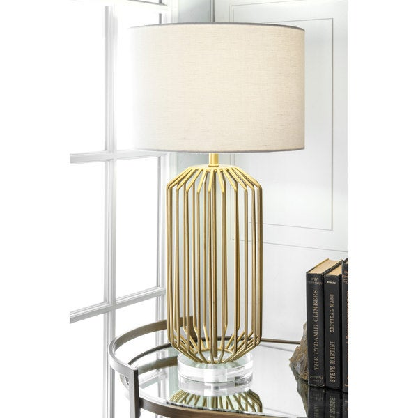 Shop Watch Hill 29-inch Caged Gold Linen Shade Table Lamp