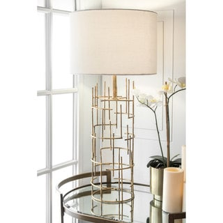 Link to nuLOOM Modern 29-inch Cylinder Gold Linen Shade Table Lamp Similar Items in Table Lamps
