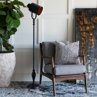 Aello Floor Lamp with Black Base and Black Shade