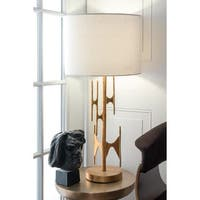 "Watch Hill 30-inch Freeform Gold Linen Shade Table Lamp - 30"" h x 14"" w x 14"" d"