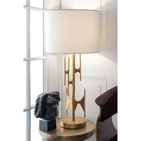 """nuLOOM 30-inch Freeform Gold Linen Shade Table Lamp - 30"""" h x 14"""" w x 14"""" d"""