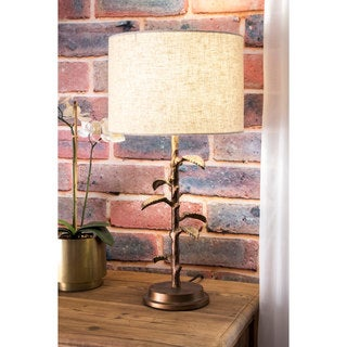 Watch Hill 26-inch Brass Tree of Light Linen Shade Table Lamp