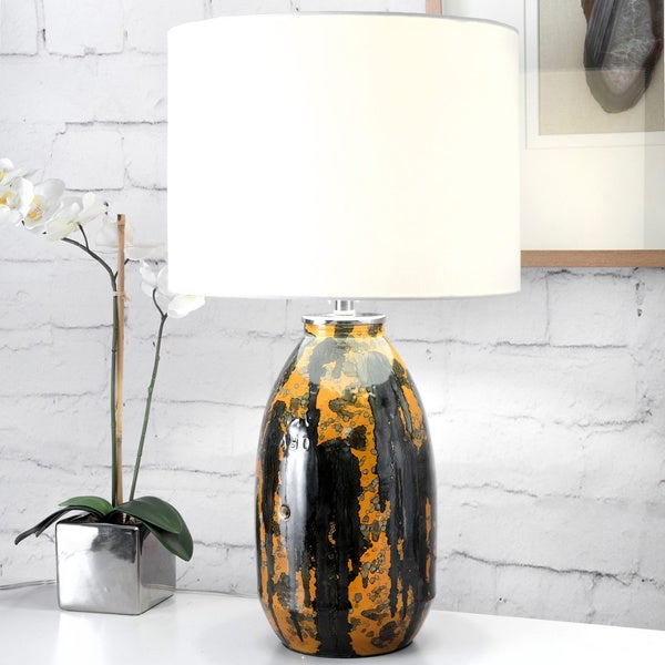 Watch Hill 25-inch Stained Glass Linen Shade Table Lamp