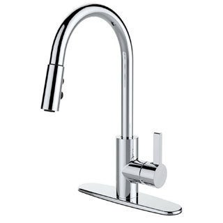 Single Handle Pull-down Deck Mounted Kitchen Faucet - Chrome/Clear