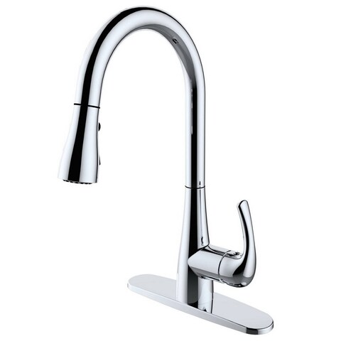 Single Handle Pull-down Chrome Finish Kitchen Faucet - Chrome/Clear