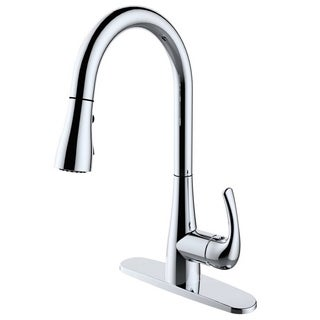 Single Handle Pull-down Deck-mounted Chrome Finish Kitchen Faucet