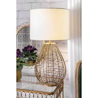 Watch Hill 27-inch Brass Woven Cage Linen Shade Table Lamp