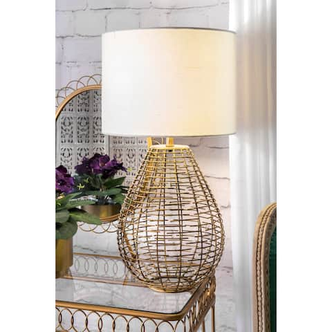 nuLOOM 27-inch Brass Woven Cage Linen Shade Table Lamp