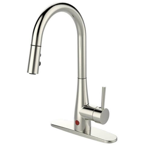 Single-handle Pull-down Deck-mounted Automatic Sensor Brushed Nickel Finish Kitchen Faucet