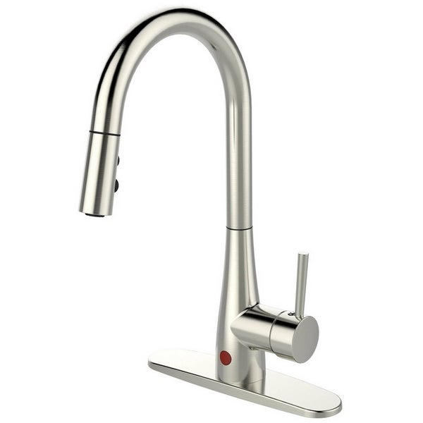 Shop single handle pull down deck mounted automatic sensor - Touchless bathroom faucet brushed nickel ...