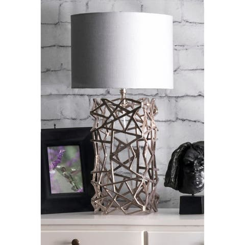 nuLOOM 25-inch Silver Twisted Cage Linen Shade Table Lamp