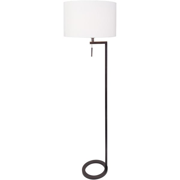 Cloven Floor Lamp with Black Base and White Shade