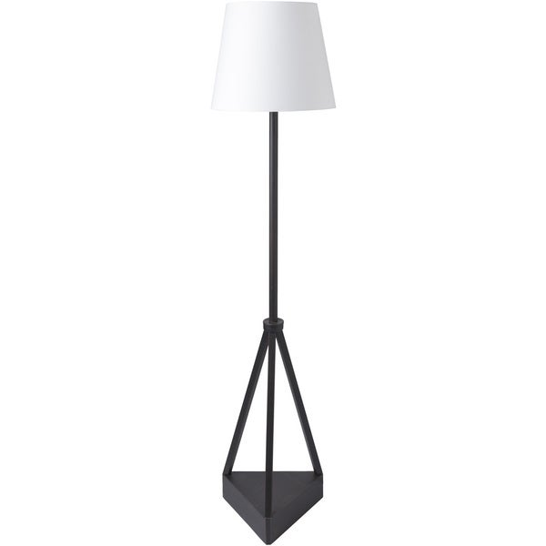 Ashanni Floor Lamp with Black Base and White Shade