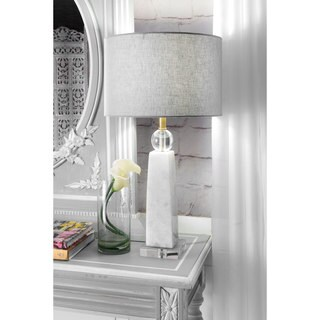 Watch Hill 23-inch Polished Marble Linen Shade Table Lamp