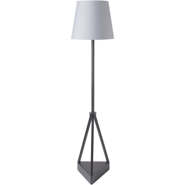 Varrat Floor Lamp with Black Base and Grey Shade