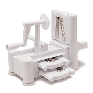Helen Chen's Asian Kitchen White Plastic, Stainless Steel 3-blade Spiral Vegetable Slicer with Suction Base