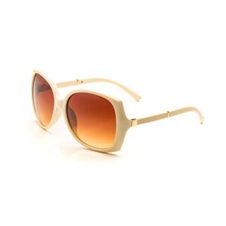 Pop Fashionwear Women's P4118 Leather Arm Oversized Polarized Sunglasses (Option: Yellow - Brown)