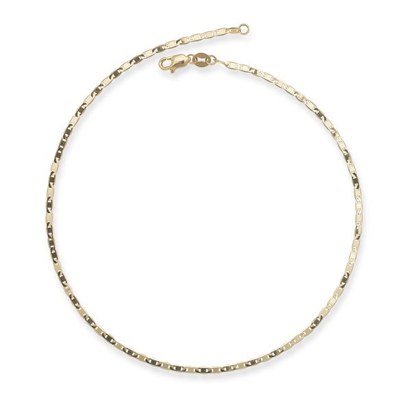 Solid 10k Yellow Gold 2.2 mm Mariner Chain Anklet or Bracelet