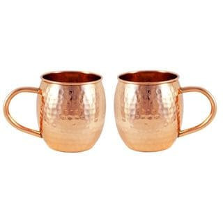 Alchemade 16 oz. Hammered Barrel Copper Mug (Set of 2)