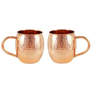 Alchemade 16 oz. Hammered Barrel Copper Mug - Set of 2